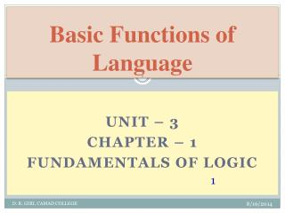Basic Functions of Language
