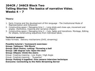 204CR / 346CS Block Two  Telling Stories: The basics of narrative Video.  Weeks 4 – 7 Theory: