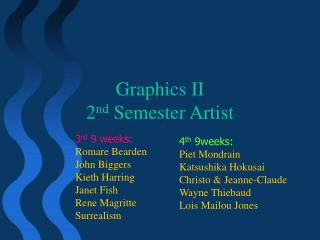 Graphics II  2 nd  Semester Artist