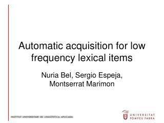 Automatic acquisition for low frequency lexical items