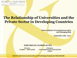 The Relationship of Universities and the Private Sector in Developing Countries