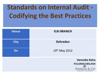 Standards on Internal Audit - Codifying the Best Practices