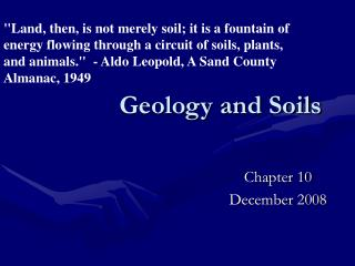 Geology and Soils