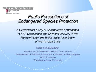 Public Perceptions of Endangered Species Protection