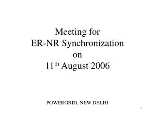 Meeting for ER-NR Synchronization on  11 th  August 2006