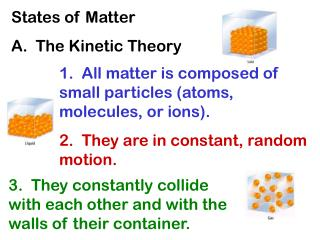 States of Matter A.  The Kinetic Theory