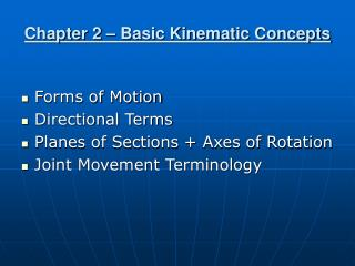 Chapter 2   Basic Kinematic Concepts