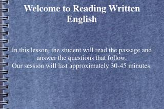 Welcome to Reading Written English