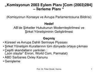 """"""" Komisyonun  2003  Eylem Planı [ Com (2003)284 ]  –  İlerleme Planı  """""""