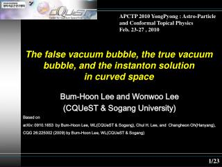 The false vacuum bubble, the true vacuum bubble, and the instanton solution  in curved space