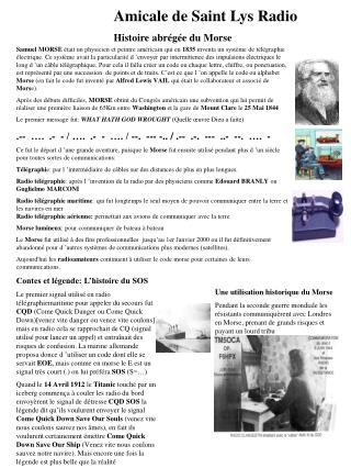 Amicale de Saint Lys Radio Histoire abrégée du Morse