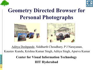 Geometry Directed Browser for Personal Photographs