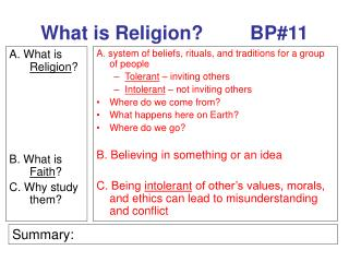 What is Religion?		BP#11