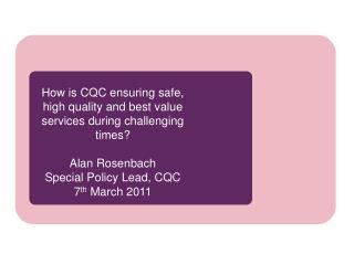 Role and remit � what does CQC do?
