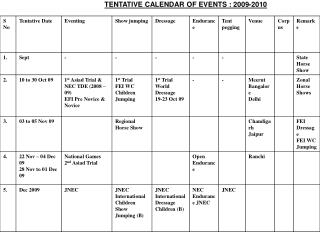 TENTATIVE CALENDAR OF EVENTS : 2009-2010