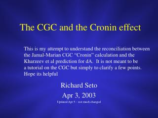 The CGC and the Cronin effect