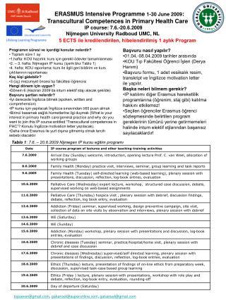 ERASMUS Intensive Programme  1-30 June 2009 :