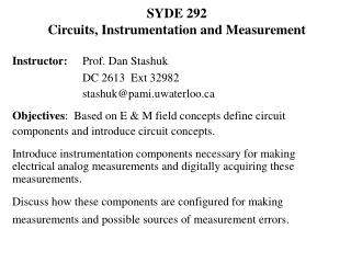 SYDE 292  Circuits, Instrumentation and Measurement
