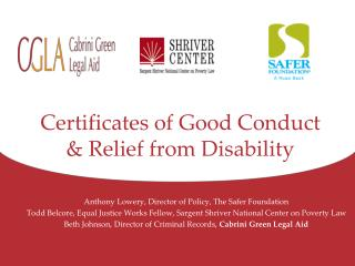 Certificates of Good Conduct & Relief from Disability