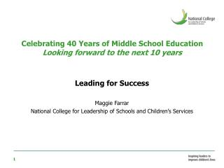 Celebrating 40 Years of Middle School Education Looking forward to the next 10 years
