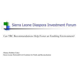 Sierra Leone Diaspora Investment Forum