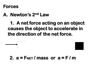 Forces A.  Newton s 2nd Law       1.  A net force acting on an object causes the object to accelerate in the direction o