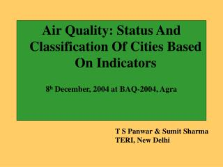 Air Quality: Status And Classification Of Cities Based On Indicators