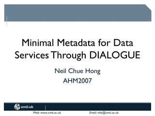 Minimal Metadata for Data Services Through DIALOGUE