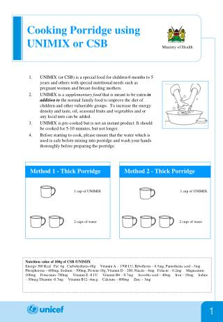 Cooking Porridge using UNIMIX or CSB