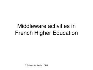 Middleware activities in French Higher Education