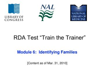 RDA Test �Train the Trainer�