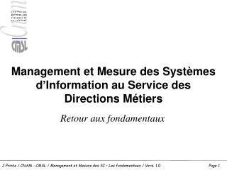 Management et Mesure des Systèmes d'Information au Service des Directions Métiers