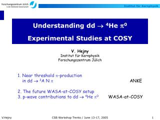 Understanding dd    4 He  p 0 Experimental Studies at COSY