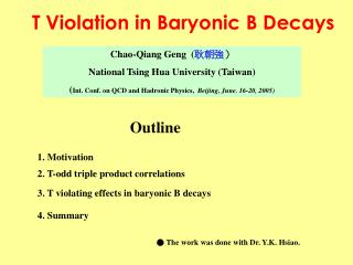 T Violation in Baryonic B Decays