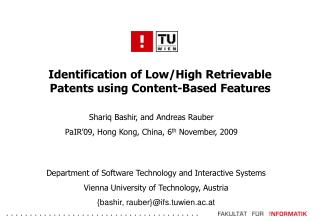Identification of Low/High Retrievable Patents using Content-Based Features