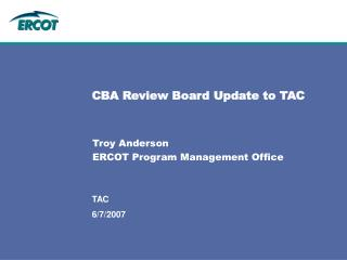 CBA Review Board Update to TAC