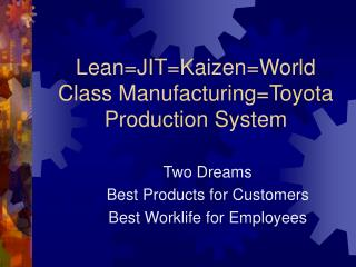 LeanJITKaizenWorld Class ManufacturingToyota Production System