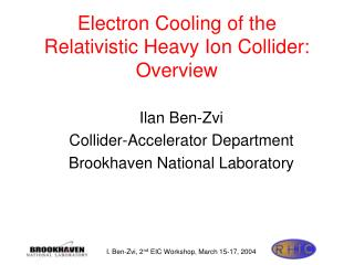 Electron Cooling of the Relativistic Heavy Ion Collider: Overview