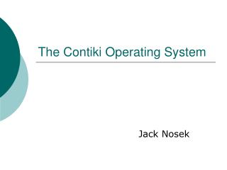 The Contiki Operating System