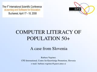 COMPUTER LITERACY OF POPULATION 50+
