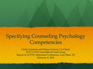 Specifying Counseling Psychology Competencies