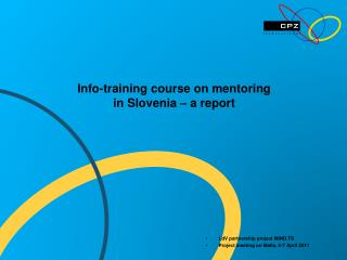 Info-training course on mentoring  in Slovenia – a report