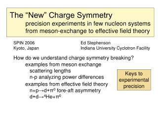 "The ""New"" Charge Symmetry 	precision experiments in few nucleon systems"