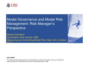 Model Governance and Model Risk Management: Risk Manager's Perspective
