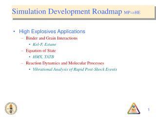 Simulation Development Roadmap  MP  HE