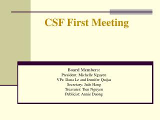 CSF First Meeting