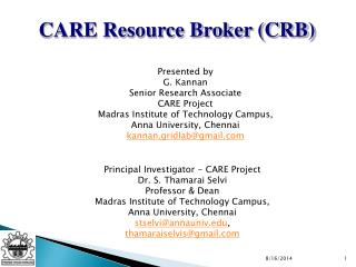 CARE Resource Broker (CRB)