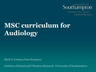 MSC curriculum for Audiology