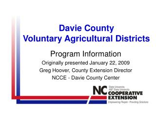 Davie County Voluntary Agricultural Districts