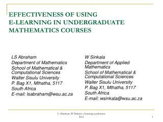 EFFECTIVENESS OF USING  E-LEARNING IN UNDERGRADUATE MATHEMATICS COURSES